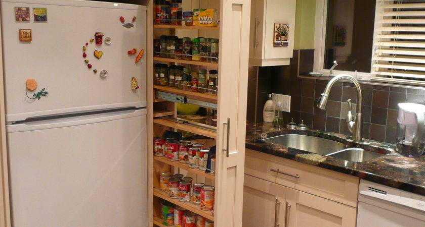 Narrow Cabinet Beside Fridge Pulls Out Reveal