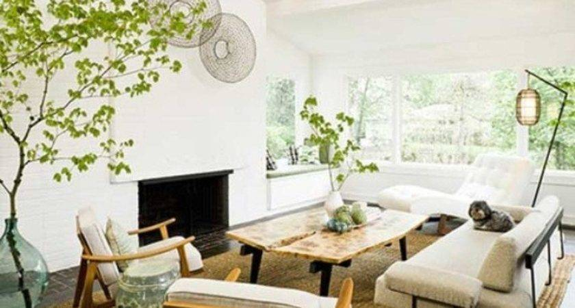 Natural Living Room White Wall Design Always