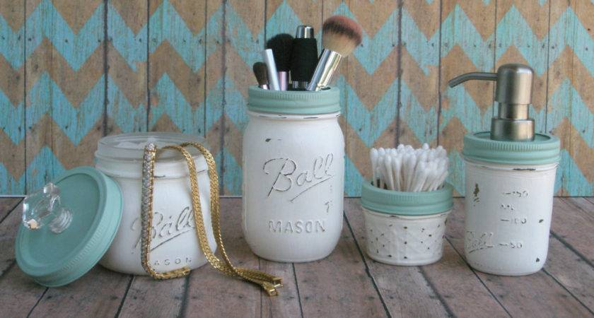 Nautical Beach Mason Jar Bathroom Set Distressed Shabby