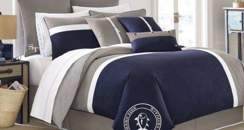 Nautical Bedroom Design Grey Navy Linen Comforter