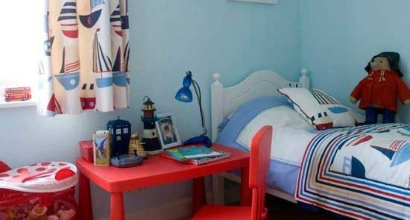 Nautical Boys Bedroom Bright Red Desk