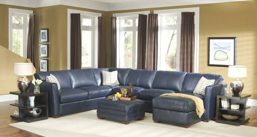 Navy Blue Leather Sectional Sofa Above White Rug Also Twin
