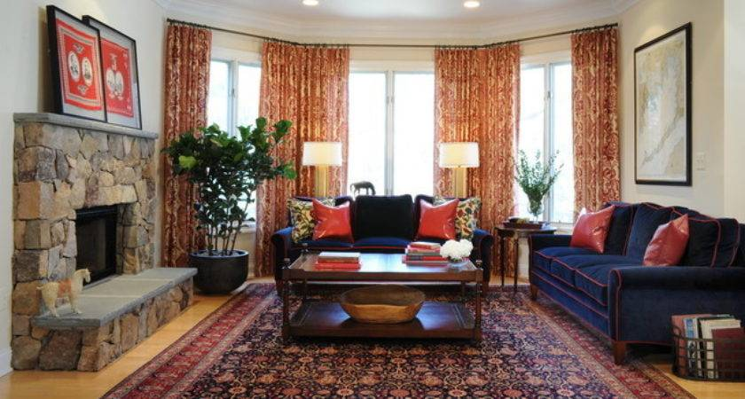 Navy Blue Red Living Room Traditional