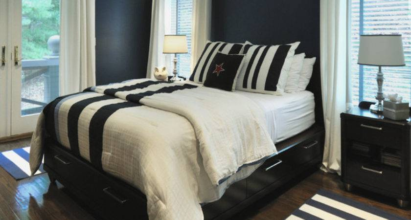 Navy White Bedroom Contemporary Other