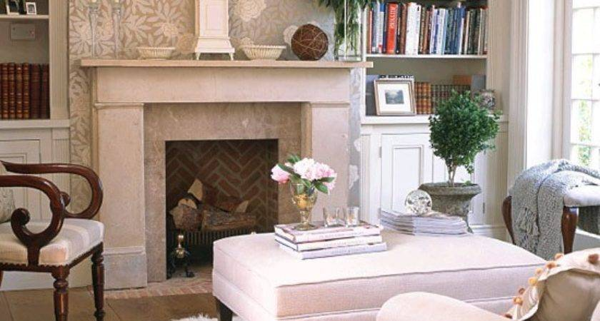 Neutral Room Floral Feature Wall Bookcases