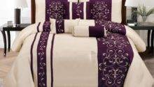 New Embroidery Bedding Beige Purple Comforter Set