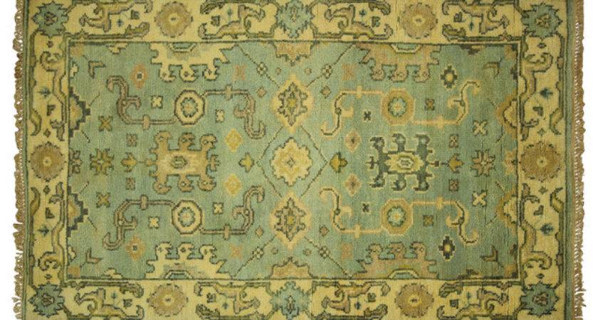 New Hand Knotted Wool Oushak Tiffany Blue Turkish