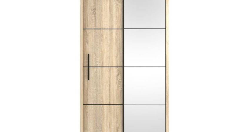 Oak Effect Small Single Sliding Door Mirror