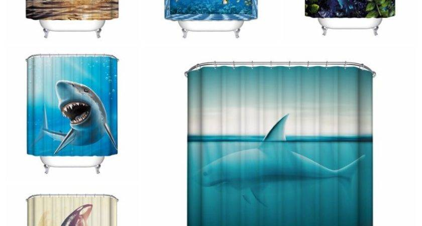 Ocean Fish Theme Waterproof Shower Curtain Hooks