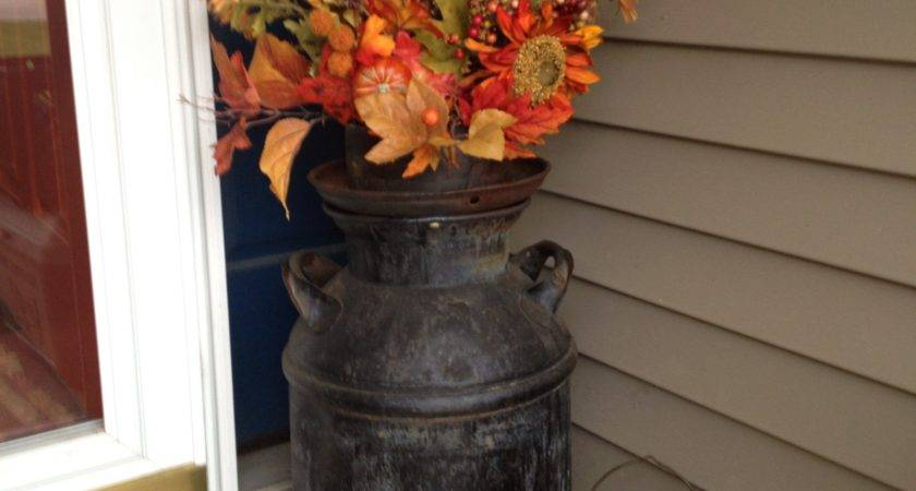 Old Milk Can Fall Floral Arrangements Front