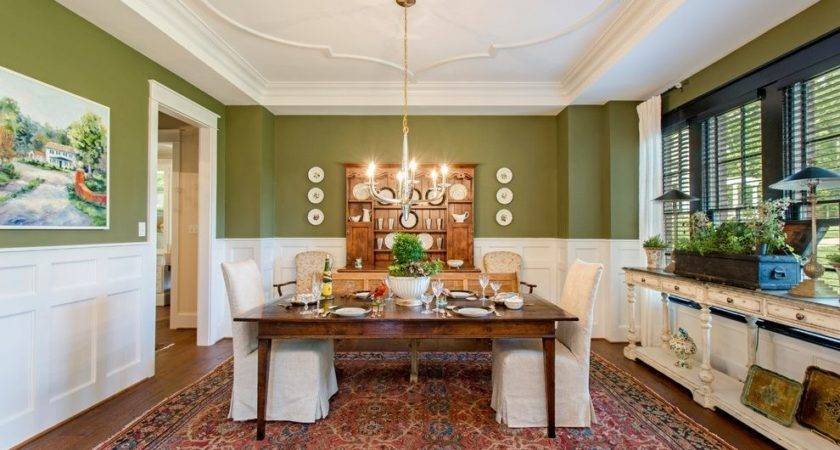 Olive Green Paint Andelier Dining Room Traditional