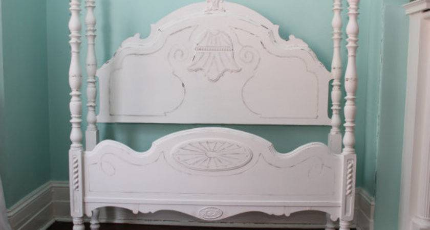 Omg Shabby Chic Bed Frame White Distressed Beach Cottage