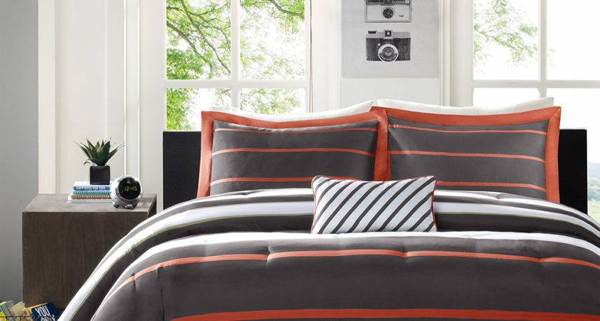 Orange Grey Striped Teen Boy Bedding Twin Queen