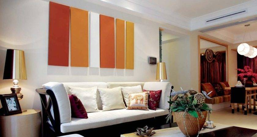Orange White Living Room Interior Design Ideas