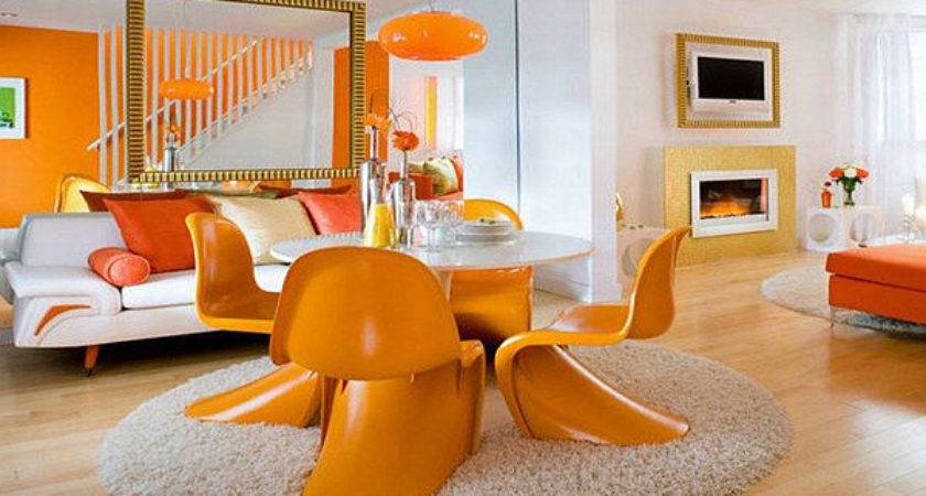 Orange White Living Room Modern House