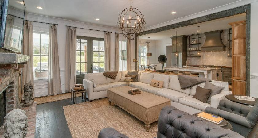 Orb Chandelier Living Room Transitional French Doors