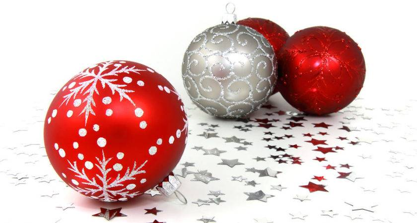 Ornaments Red Silver Christmas