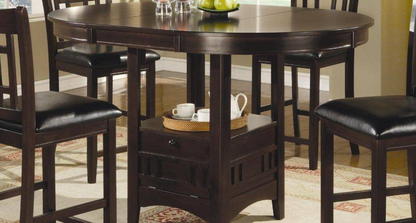 Oval Counter Height Storage Dining Table Leaf Coaster
