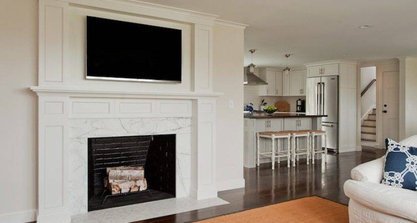 Over Fireplace Transitional Living Room Thomas
