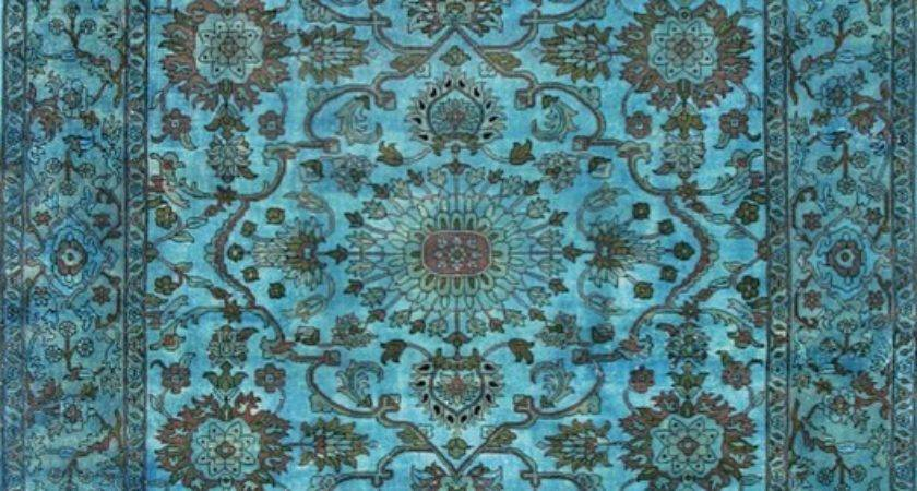 Overdyed Tiffany Blue Rug Area Rugs Other Metro