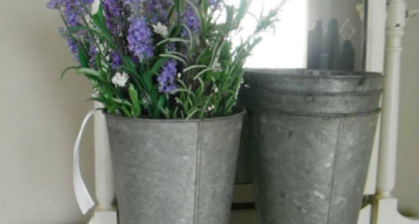 Pair Metal Buckets Wedding Decor Galvanized Thewaterssong