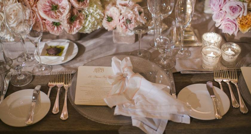 Pale Pink White Gold Reception Table Setting