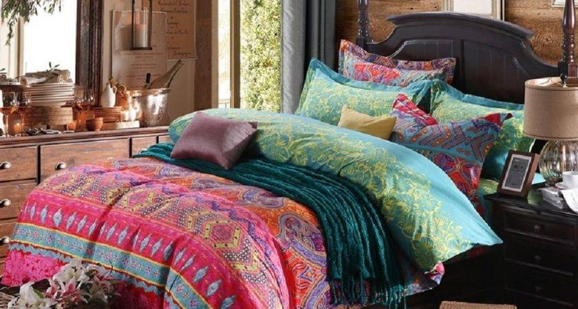 Pcs Colorful Boho Bedding Set Bohemian Duvet Covers
