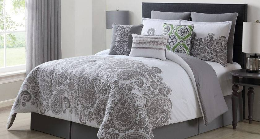 Piece Mona Gray White Cotton Comforter Set
