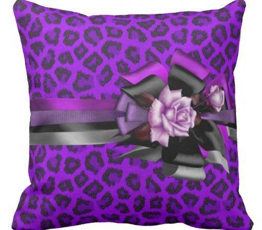 Pillows Purple Leopard Bow Black Pink Silver Rose Pillow