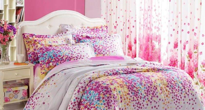 Pink Blue Comforter Set Purple White Yellow Lilac