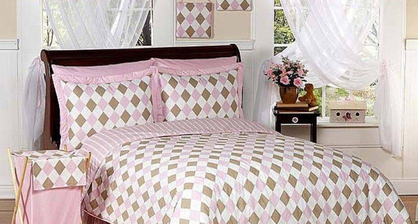 Pink Brown Argyle Teen Bedding Set Shipping
