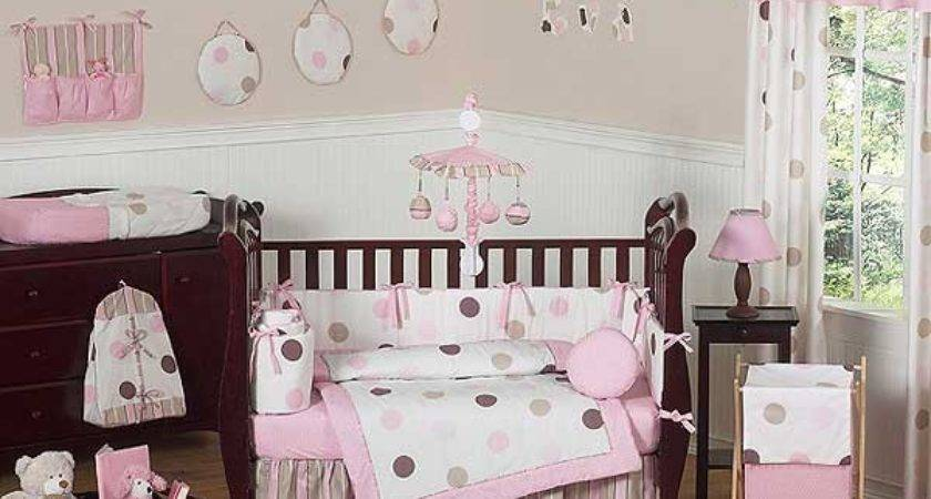 Pink Brown Mod Dots Crib Bedding Set Sweet Jojo