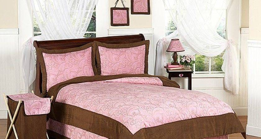 Pink Brown Paisley Girl Bedding Set