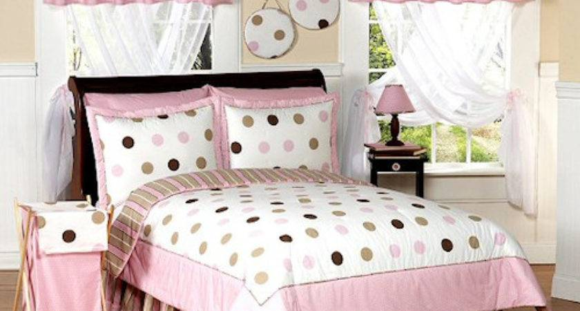 Pink Brown Polka Dot Cirlce Bedding Twin Queen