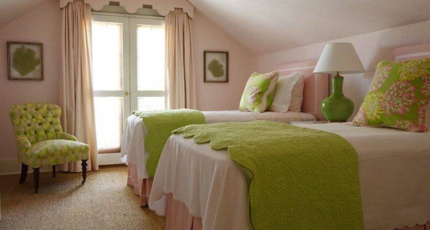Pink Green Girl Bedding Traditional Room
