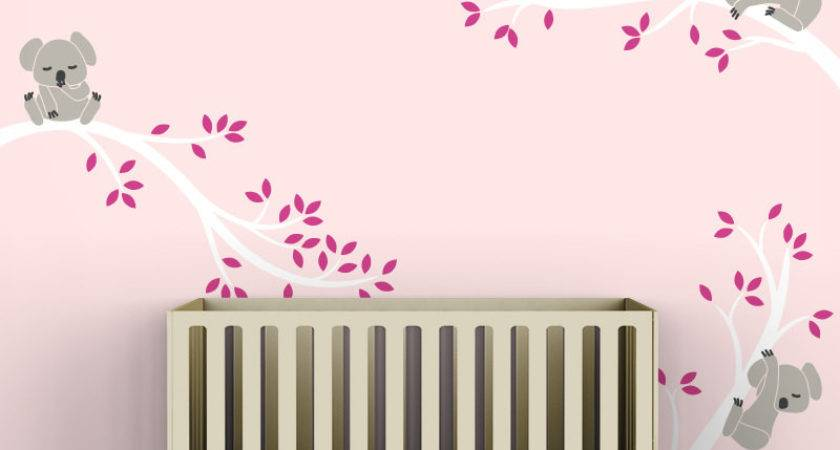 Pink Kids Decal Wall Decor Baby Room White Tree Branches