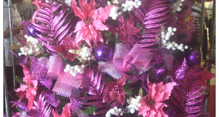 Pink Purple Christmas Tree Baubles Decorations Ideas