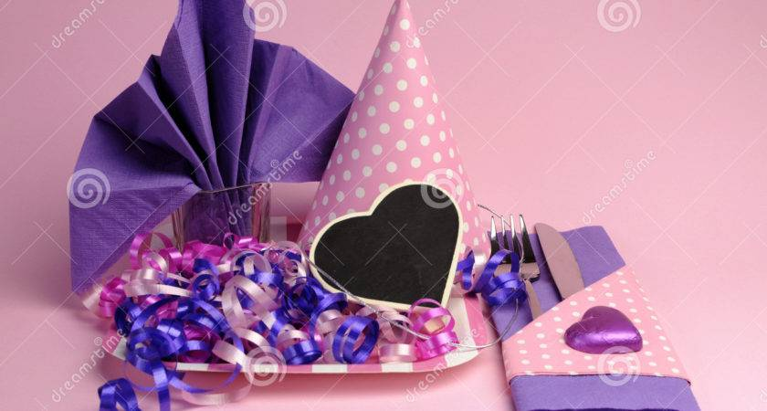 Pink Purple Theme Party Table Setting Decorations