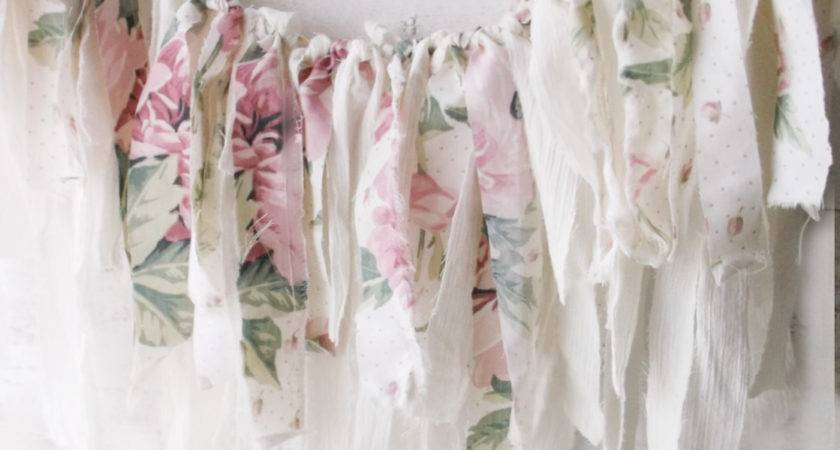 Pink Shabby Chic Roses Fabric Garland Romantic Christmas