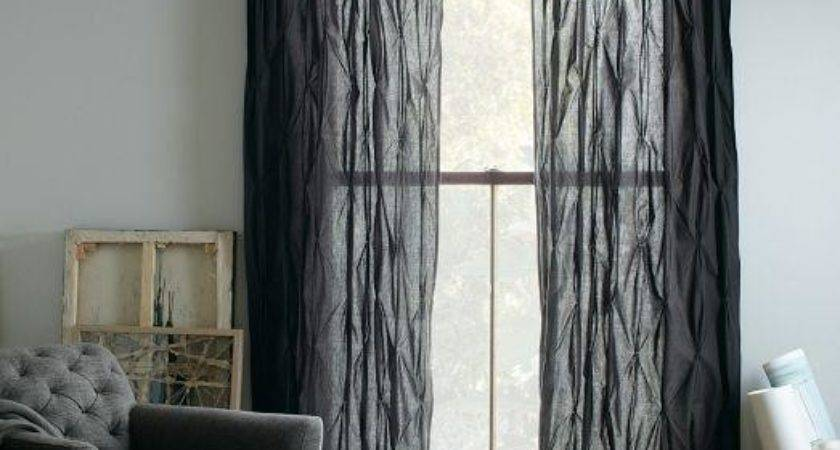 Pintuck Curtain Slate West Elm