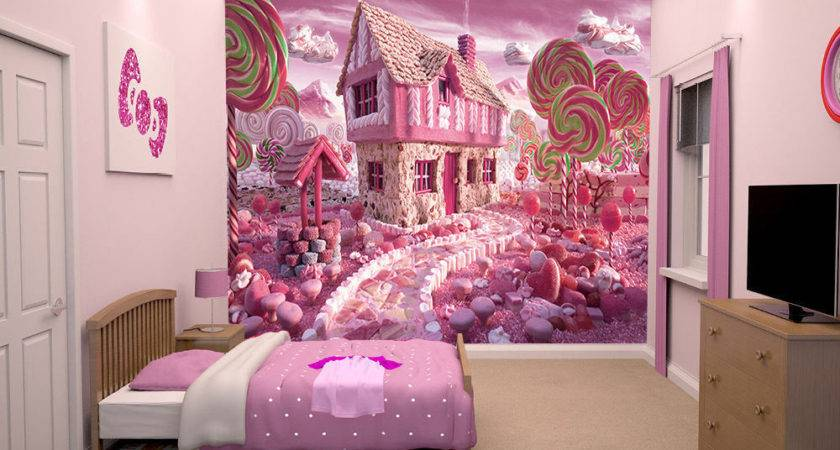 Prepasted Mural Pink Candy House Girls Bedroom