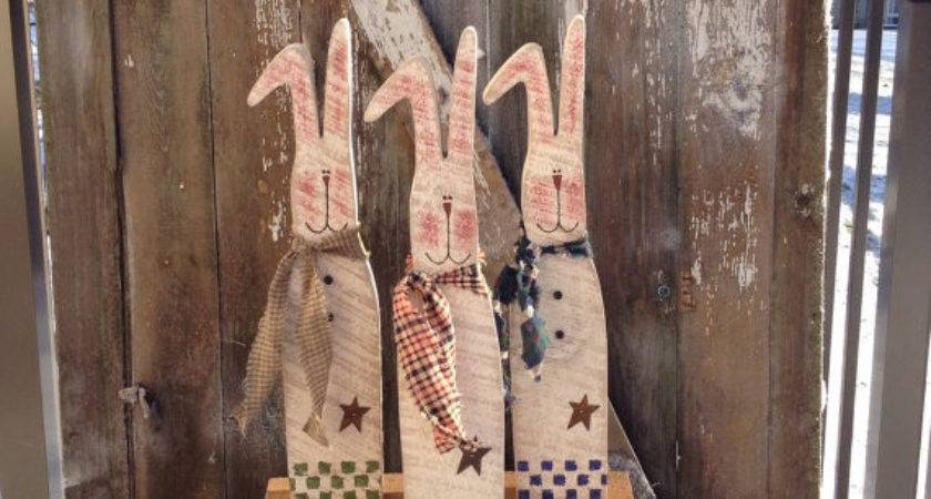 Primitive Decor Country Wood Bunny
