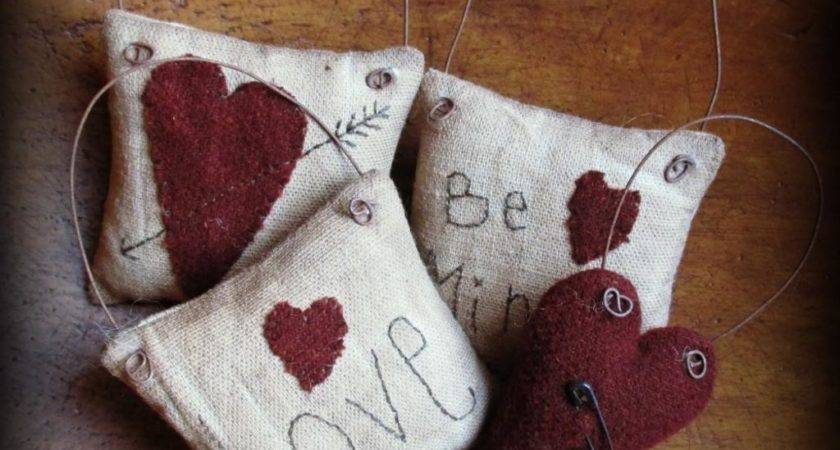 Primitive Valentine Ornaments Set Teresamil Craftsy