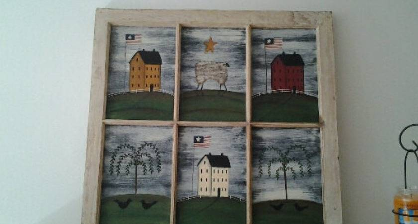 Primitive Window Country Landscape Suzannescountryhome