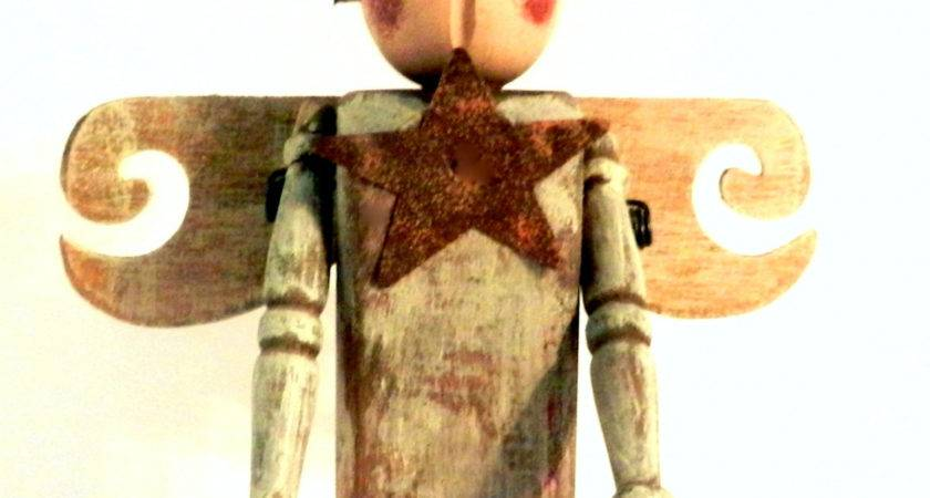Primitive Wooden Angel Rustic Home Decor