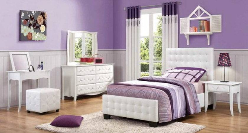 Purple Bedroom Color Featuring White Furniture