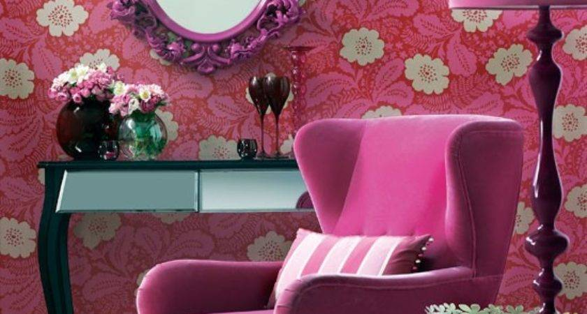 Purple Floral Living Room Colourful