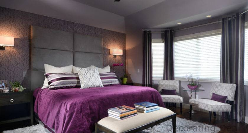 Purple Gray Contemporary Master Bedroom