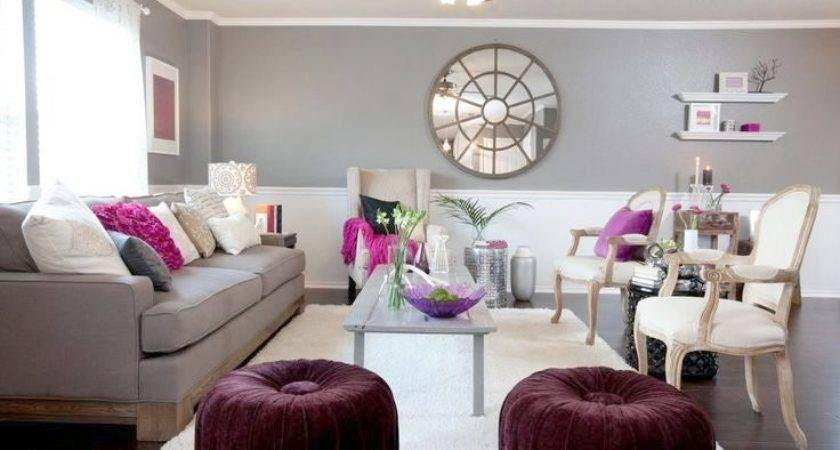 Purple Gray Living Room Decor Modern Style Home