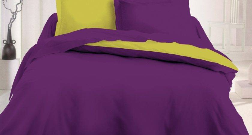 Purple Green Cotton Bed Linen Set Reversible Duvet
